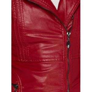 Asymmetrical Belted Faux Leather Jacket -