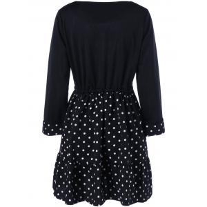 Polka Dot Plus Size Mini Vintage Dress - BLACK 5XL