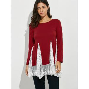 Scoop Neck Lace Panel Longline Tee -