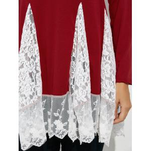 Scoop Neck Lace Panel Longline Tee - RED XL