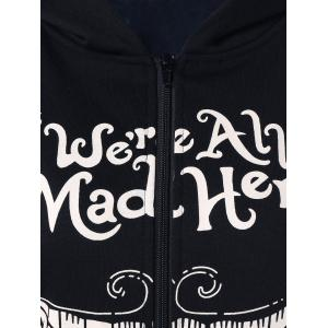 We Are All Mad Here Print Hoodie - BLACK XL