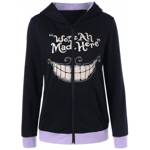 We Are All Mad Here Print Hoodie - Black - M