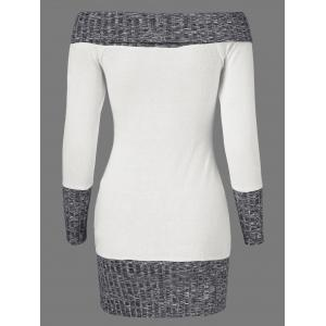 Knitted Off The Shoulder Fitted Jumper Dress - GREY/WHITE M