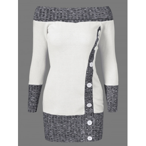 Knitted Off The Shoulder Fitted Jumper Dress - Grey And White - L