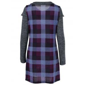 Ruched Pockets Plaid Dress -