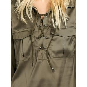 Flap Pockets Lace Up Front Shirt - GREEN 2XL