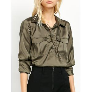 Flap Pockets Lace Up Front Shirt - Green - S