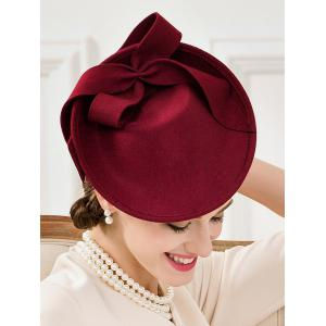 Formal Party Bowknot Felt Cocktail Hat - WINE RED