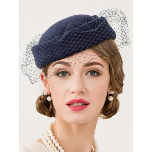 Cocktail Party Bowknot Veil Felt Pillbox Hat