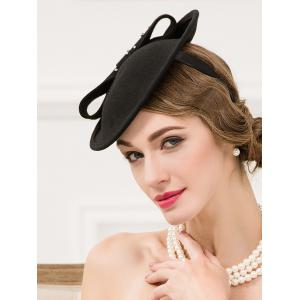 Formal Party Rhinestone Wool Felt Cocktail Hat - BLACK