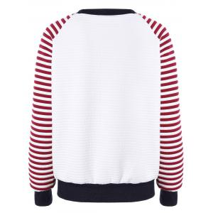 Pull a manches raglan rayées avec motif cartoon brodé - Rouge TAILLE MOYENNE