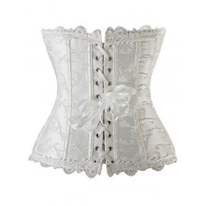 Lace Up Embroidered Corset - WHITE XL
