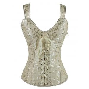 Jacquard Lace Up Corset - Light Yellow - S