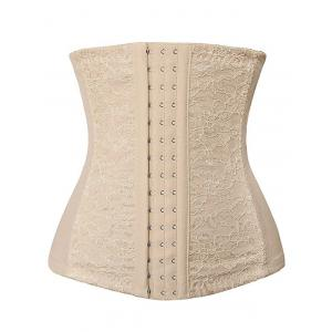Three Hooks Lace Panel Corset - Complexion - 2xl
