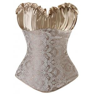Paisley Pattern Ruched Lace Up Corset