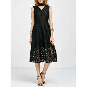 Jacquard Sheer A Line Cut Out Choker Dress