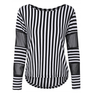 Voile Panel Stripe Long Sleeve T-Shirt