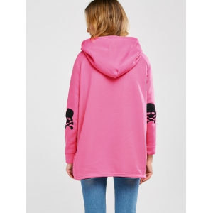 Hooded Side Slit Skull Patch Coat -