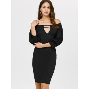 Off The Shoulder Puff Sleeves Bodycon Dress - BLACK L