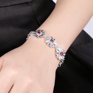 Artificial Ruby Flower Bracelet -
