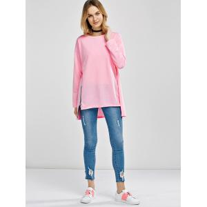 Asymmetrical Zipper Design Loose Tee -