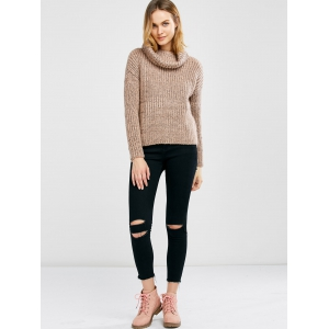 Turtle Neck Heathered Pullover Sweater - PINK ONE SIZE