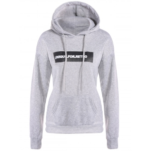 Letter Drawstring Hoodie - Light Gray - S