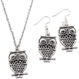 Owl Pendant Necklace and Earrings - Silver