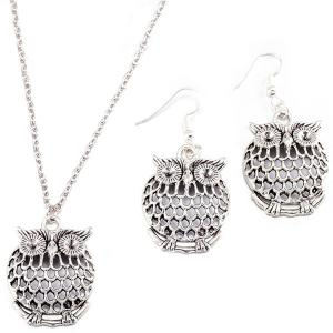 Owl Necklace and Drop Earrings