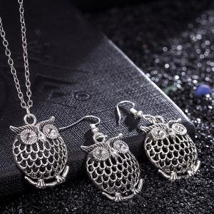Owl Necklace and Drop Earrings - SILVER