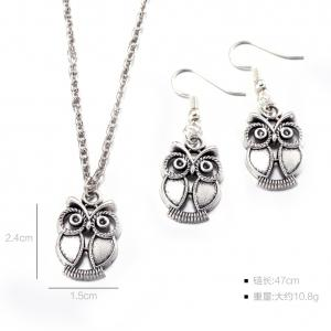 Owl Necklace with Earrings - SILVER