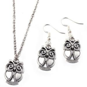 Owl Necklace with Earrings