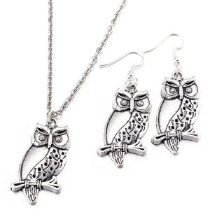 Branch Owl Necklace and Earrings