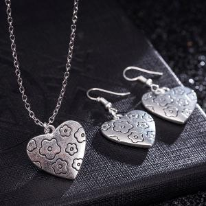 Engraved Flower Heart Necklace and Earrings -