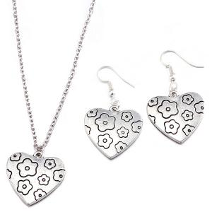 Engraved Flower Heart Necklace and Earrings