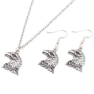 Eagle Head Alloy Necklace and Earrings - Silver