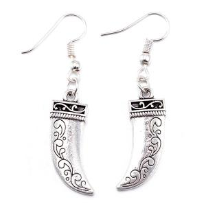 Knife Pendant Necklace and Earrings - SILVER