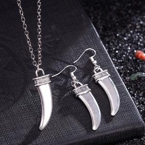 Moon Knife Pendant Necklace and Earrings - SILVER