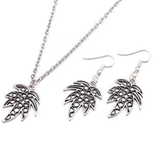 Leaf Pendant Necklace and Earrings