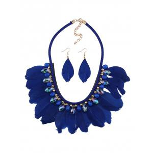 Artificial Gem Feather Necklace and Earrings - Blue