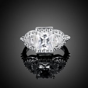 Artificial Diamond Gemstone Geometric Engagement Ring -