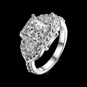 Artificial Diamond Gemstone Geometric Engagement Ring