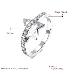 Rhinestone Star Ring - SILVER 8