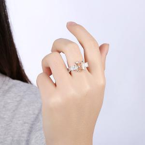 Geometric Artificial Gem Finger Ring - SILVER 8