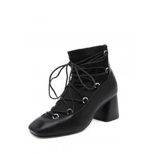 Lace Up Square Toe Chunky Heel Ankle Boots -