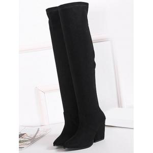 Chunky Heel Pointed Toe Thigh Boots - BLACK 39
