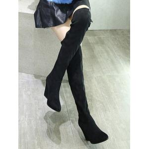 Chunky Heel Pointed Toe Thigh Boots -