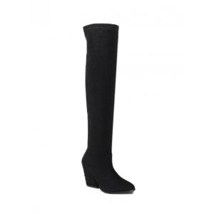 Chunky Heel Pointed Toe Thigh Boots