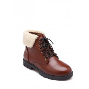 Faux Shearling Panel Lace Up Ankle Boots - Brown - 38