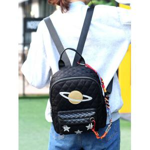 Stitching Argyle Star Pattern Backpack - BLACK